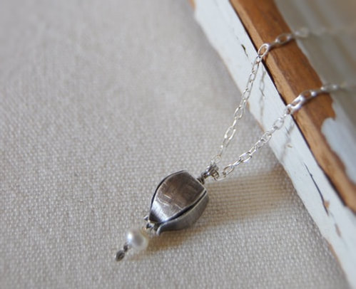 Sterling Pod with Pearl Necklace